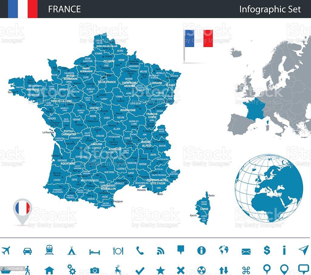 France - infographic map - Illustration vector art illustration