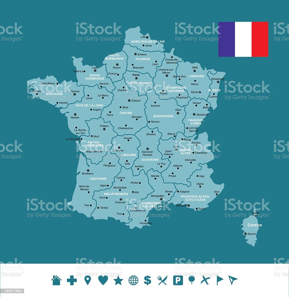 France Infographic Map vector art illustration