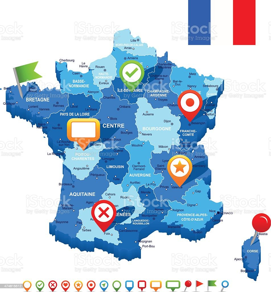 France map 3D, flag and navigation icons - illustration vector art illustration