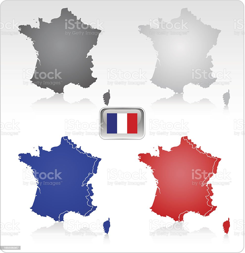 France Map and Flag (see Description) vector art illustration
