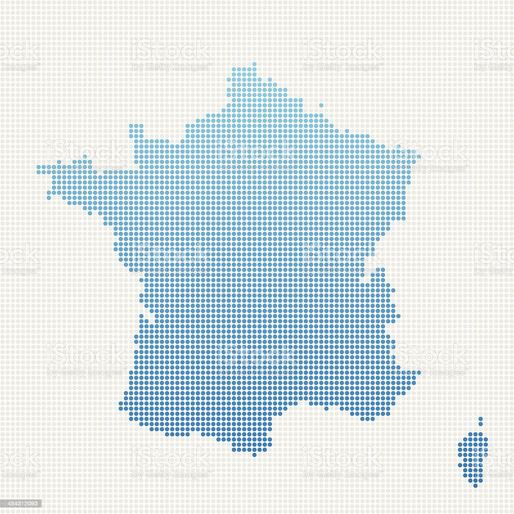 France Map Blue Dot Pattern royalty-free stock vector art