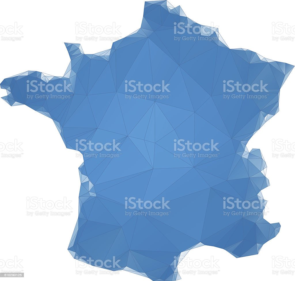 France map blue polygons vector art illustration