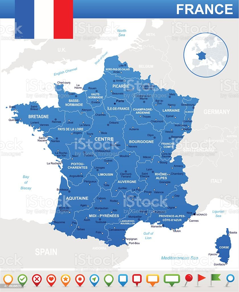 France map, flag and navigation icons - illustration vector art illustration