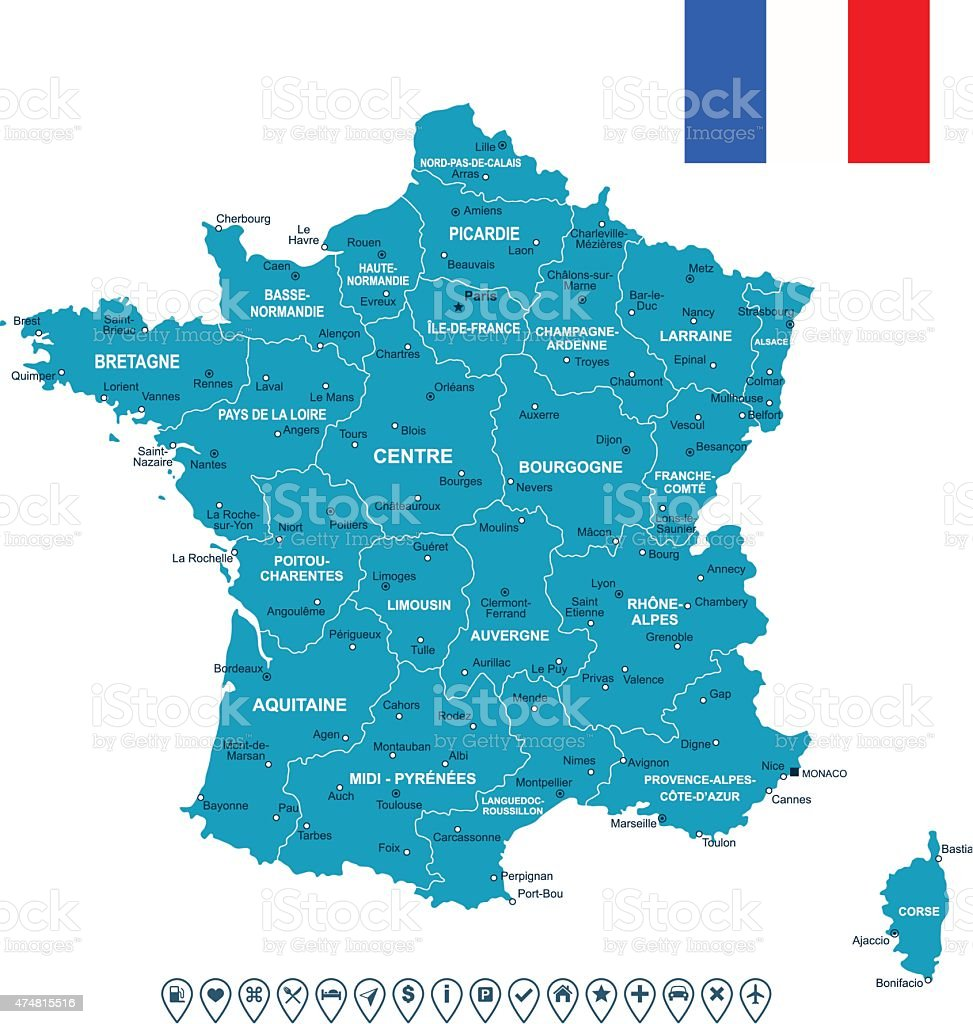 France map, flag and navigation labels - illustration vector art illustration