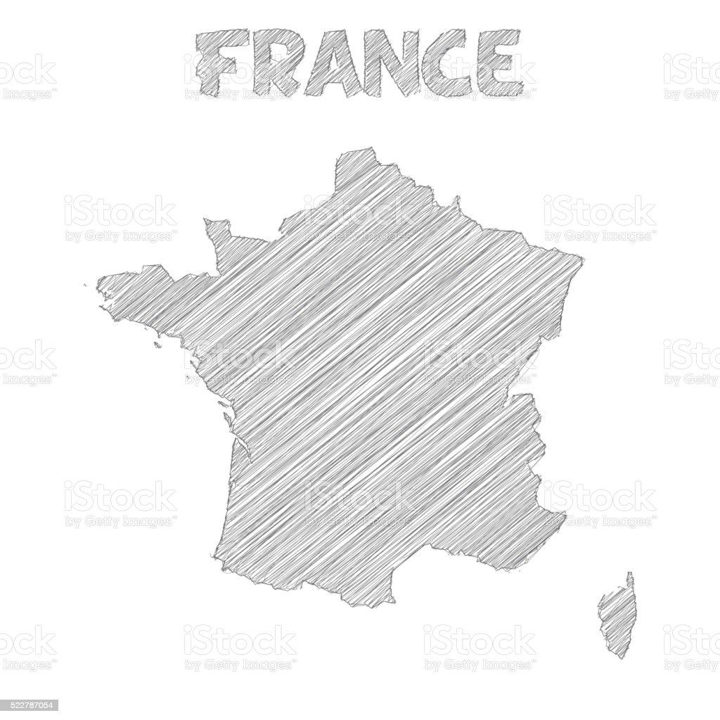France map hand drawn on white background vector art illustration