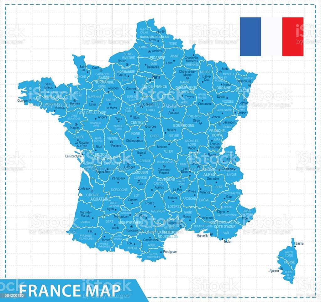 France Map - Illustration vector art illustration