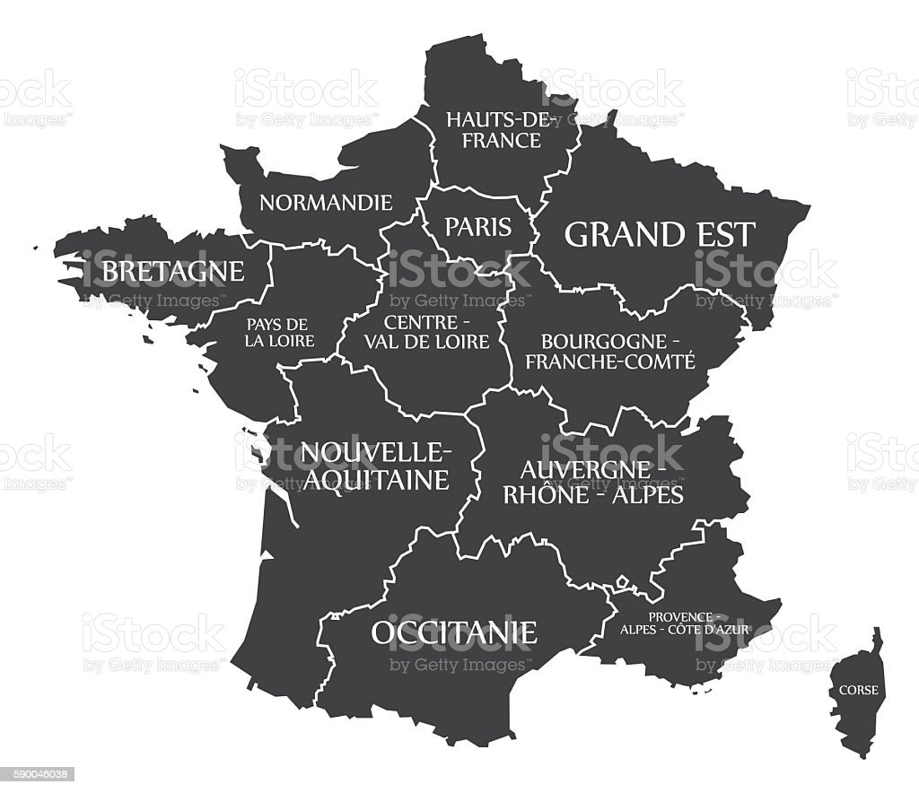 France Map labelled black vector art illustration