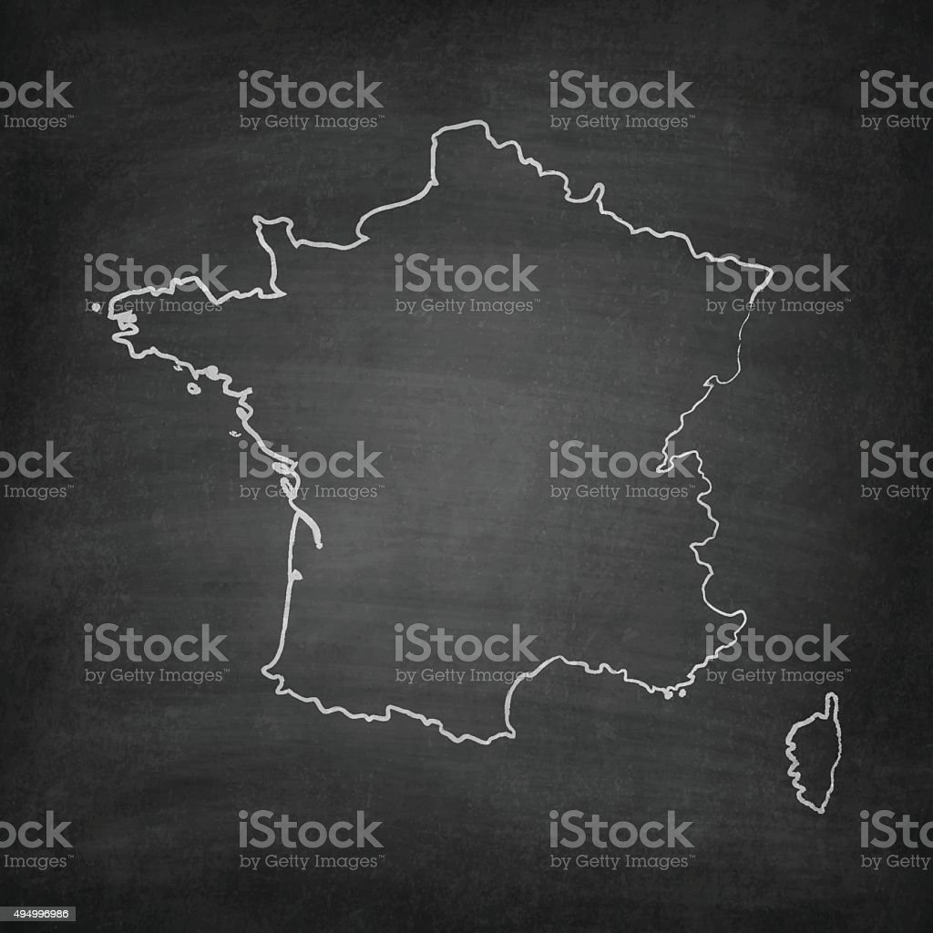 France Map on Blackboard - Chalkboard vector art illustration