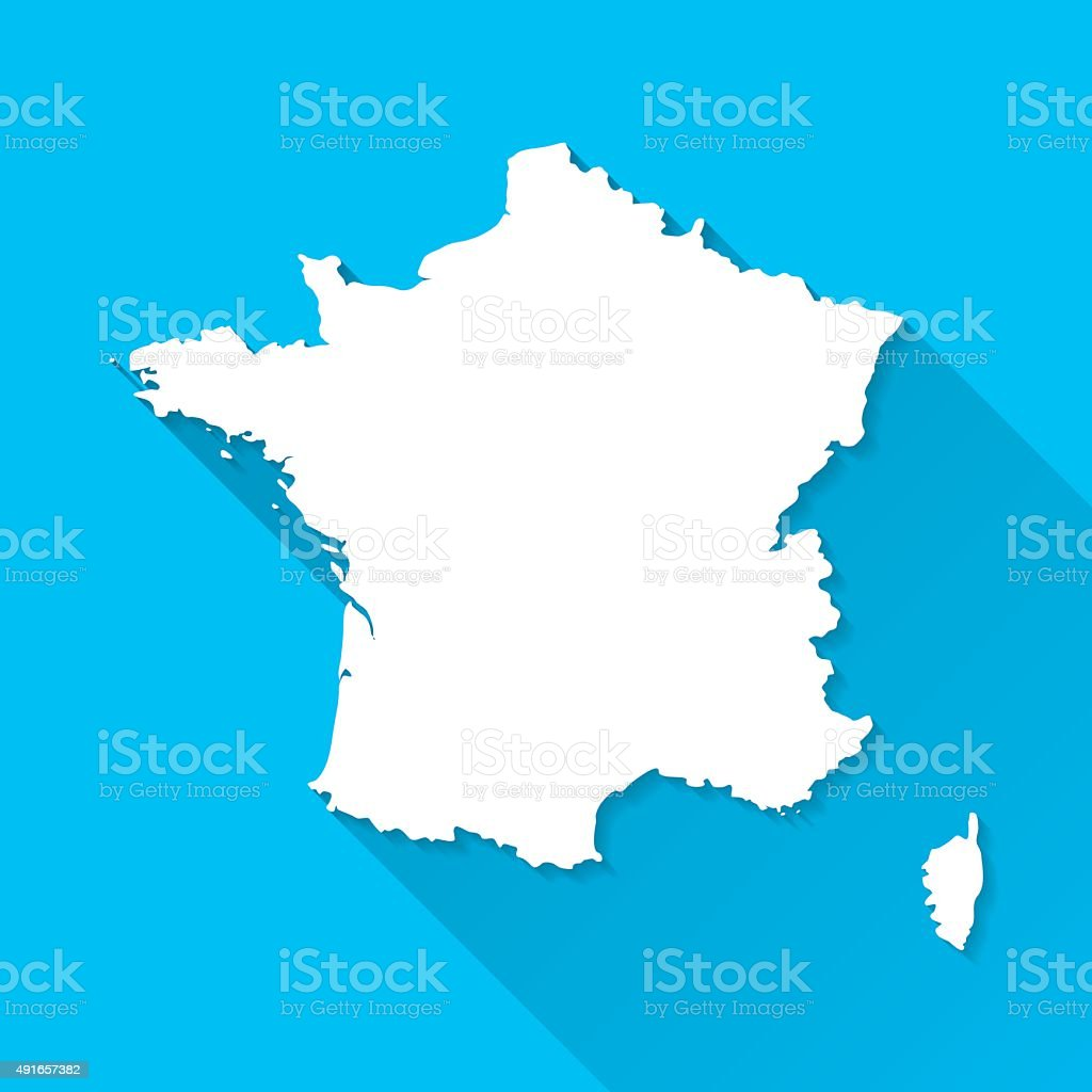 France Map on Blue Background, Long Shadow, Flat Design vector art illustration