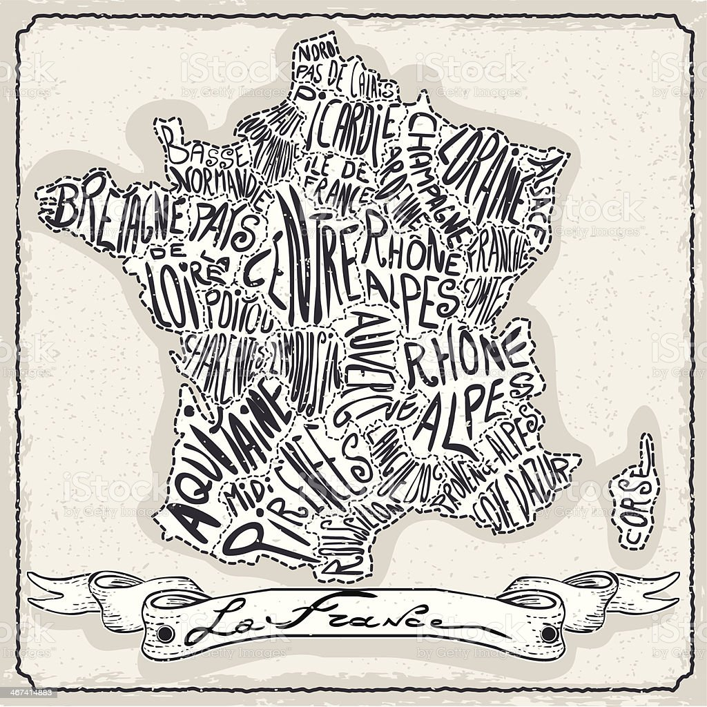 France Map on Vintage Handwriting Page royalty-free stock vector art