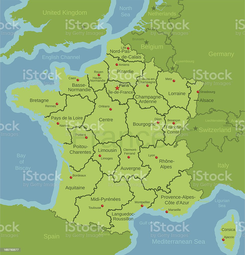 France Map showing Regions royalty-free stock vector art