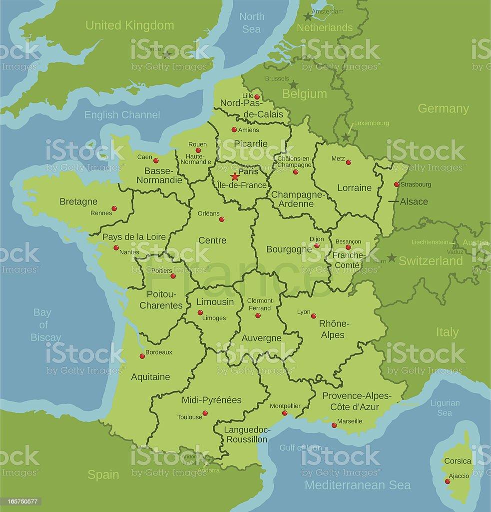 France Map showing Regions vector art illustration