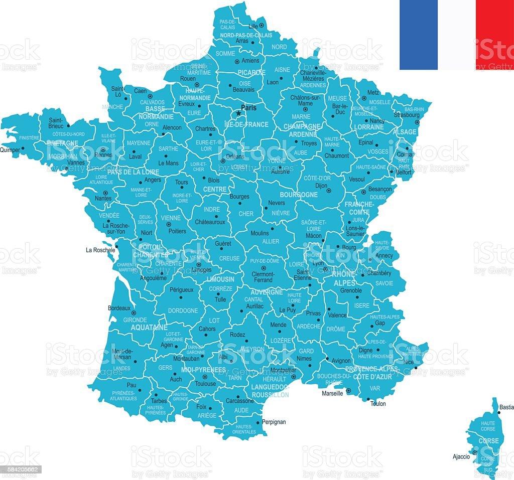 France Map vector art illustration