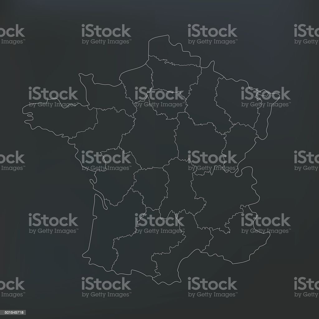 France map with countries on dark shady background vector art illustration