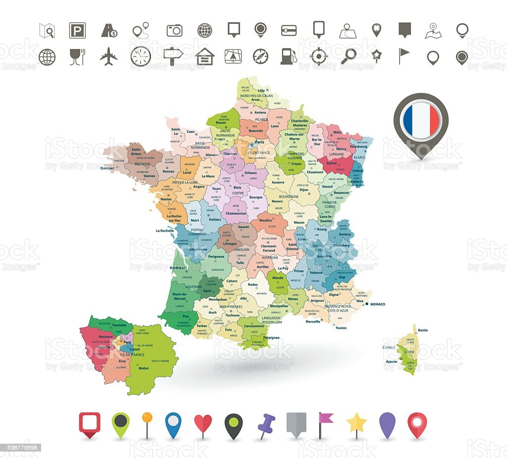 France map with flag and navigation icons vector art illustration