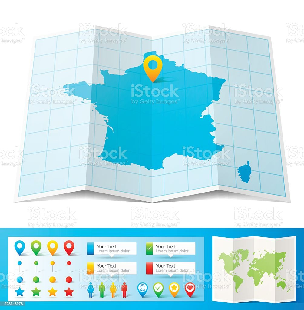 France Map with location pins isolated on white Background vector art illustration