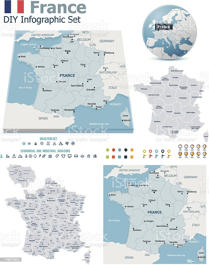 France maps with markers vector art illustration