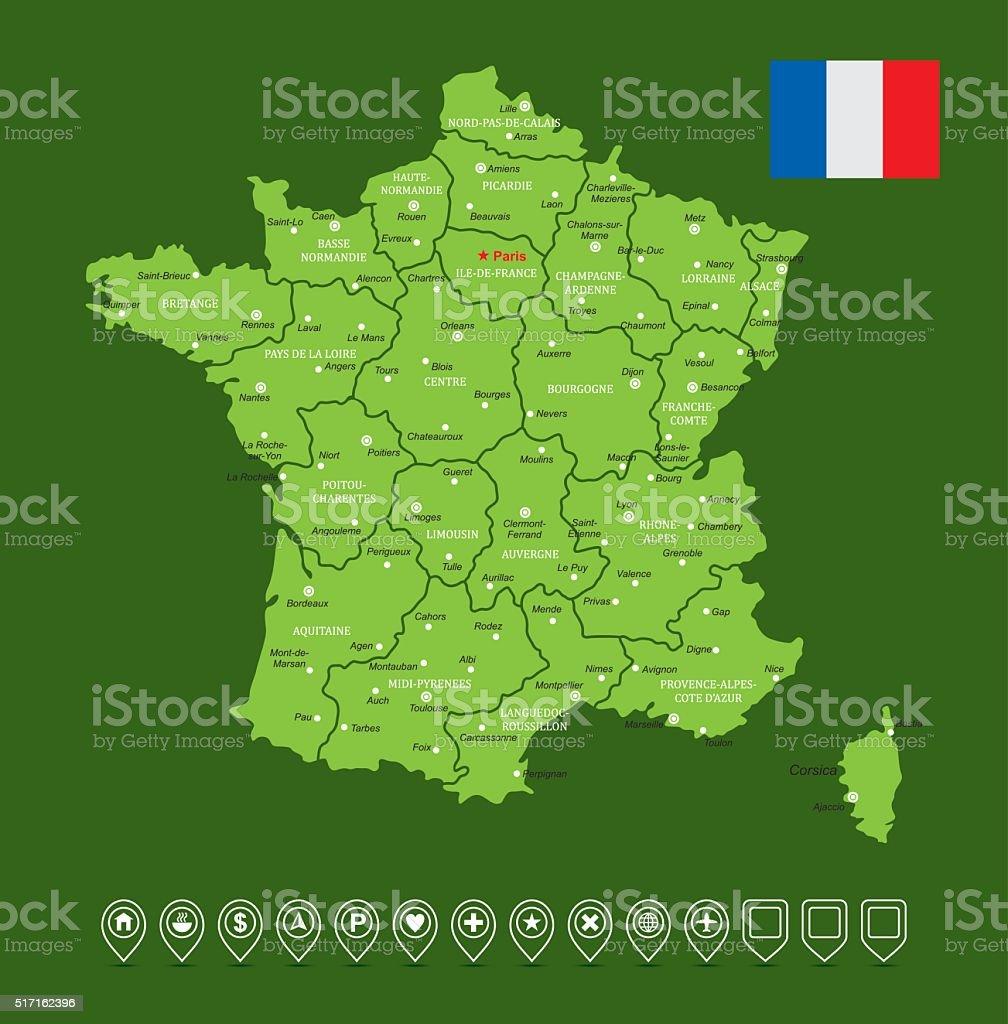 France Map-Vector Illustration vector art illustration