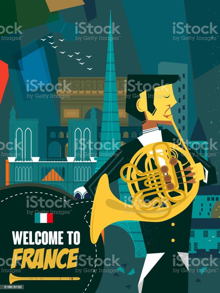 France music night poster vector art illustration