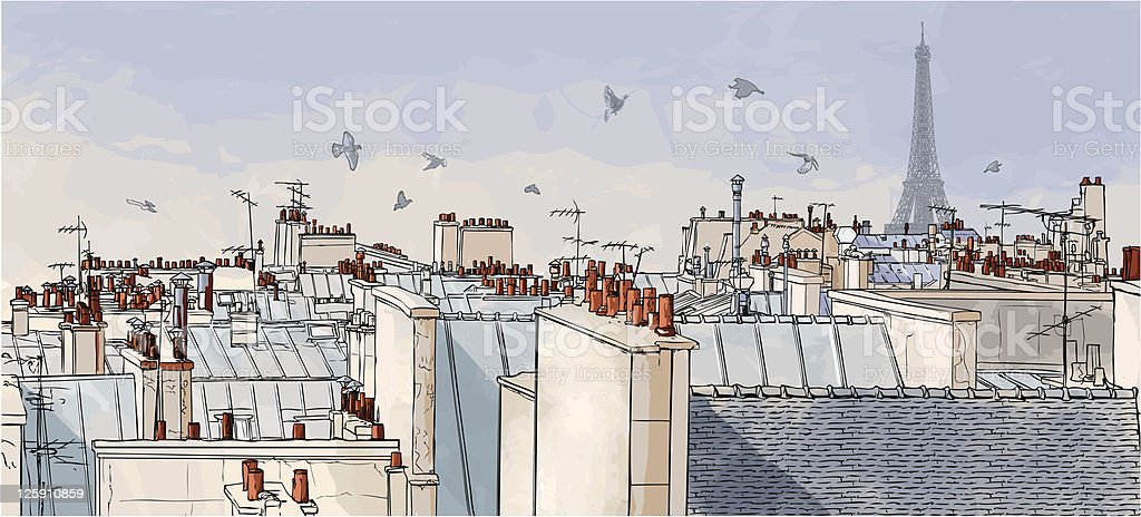 France - Paris roofs royalty-free stock vector art