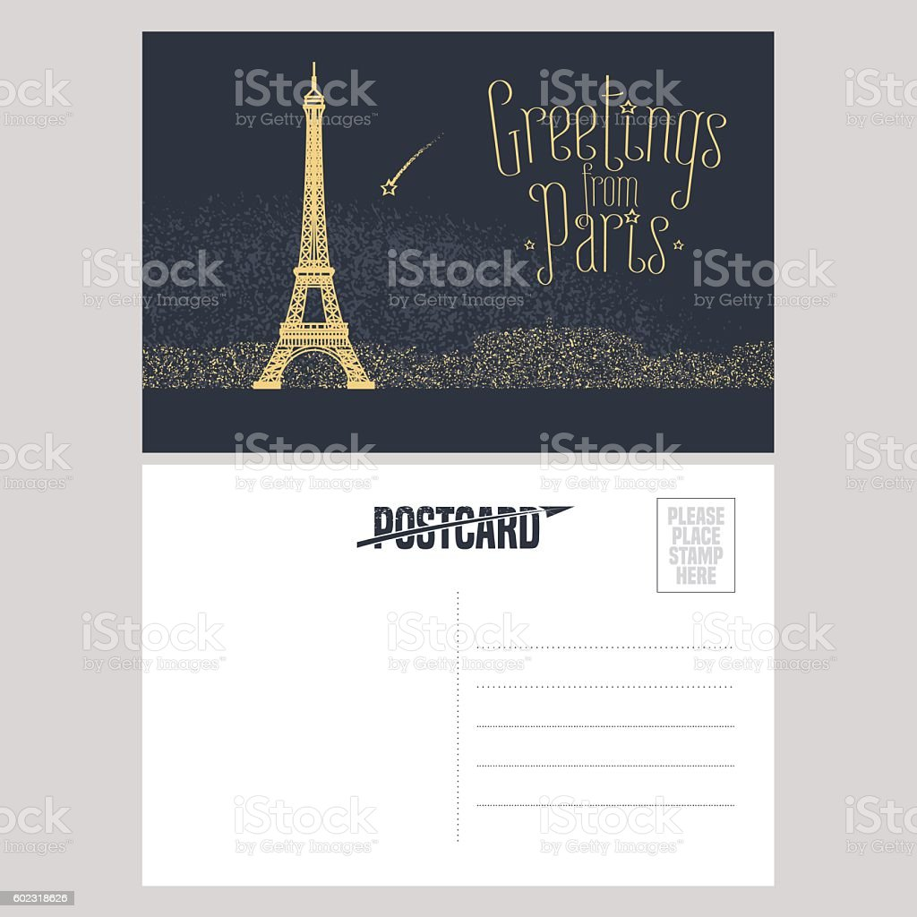 France, Paris vector postcard design with Eiffel tower vector art illustration