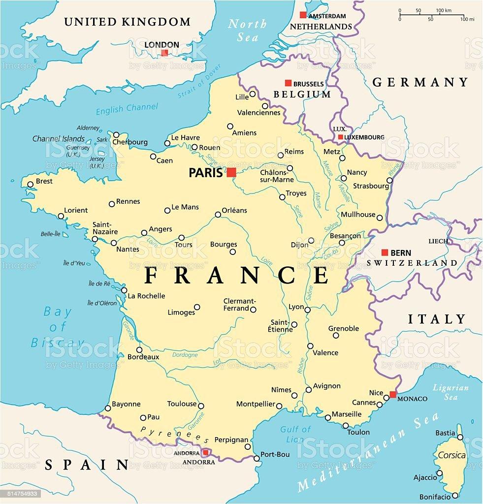 France Political Map vector art illustration