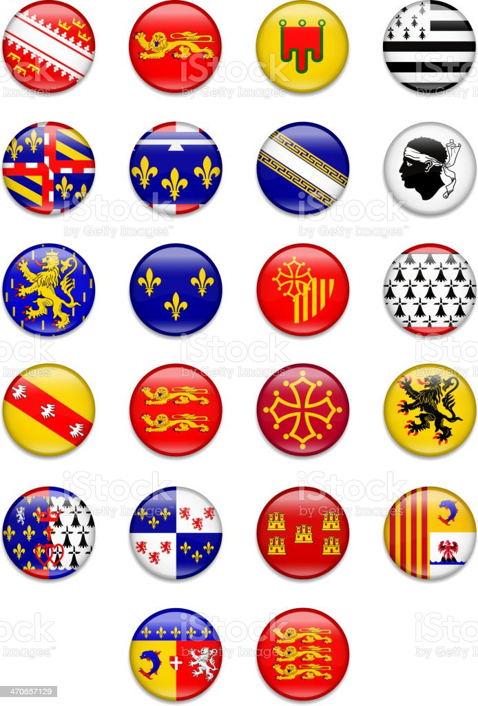 France Region Button Flag Collection- Complete vector art illustration
