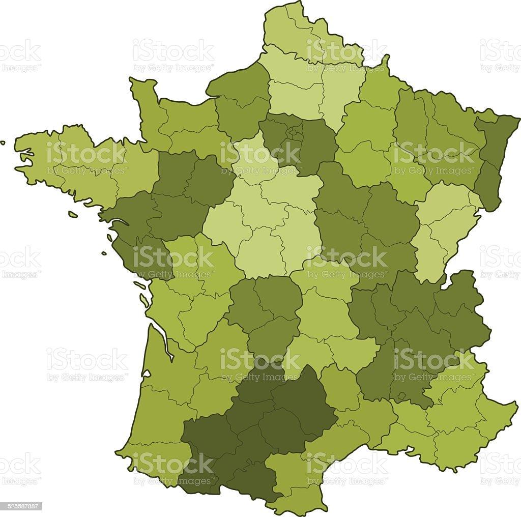 France regions and departments vector art illustration