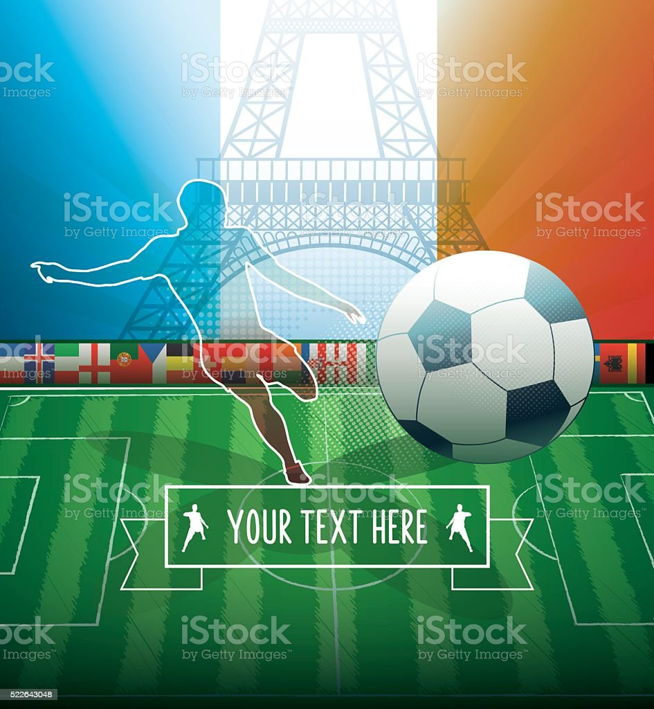 france soccer background with player silhouette and eiffel tower vector art illustration