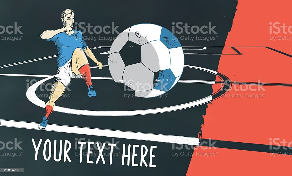 france soccer field illustration on chalkboard vector art illustration