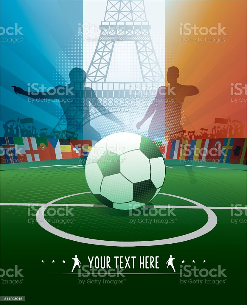 france soccer stadium poster with eiffel tower and player silhouettes stock photo