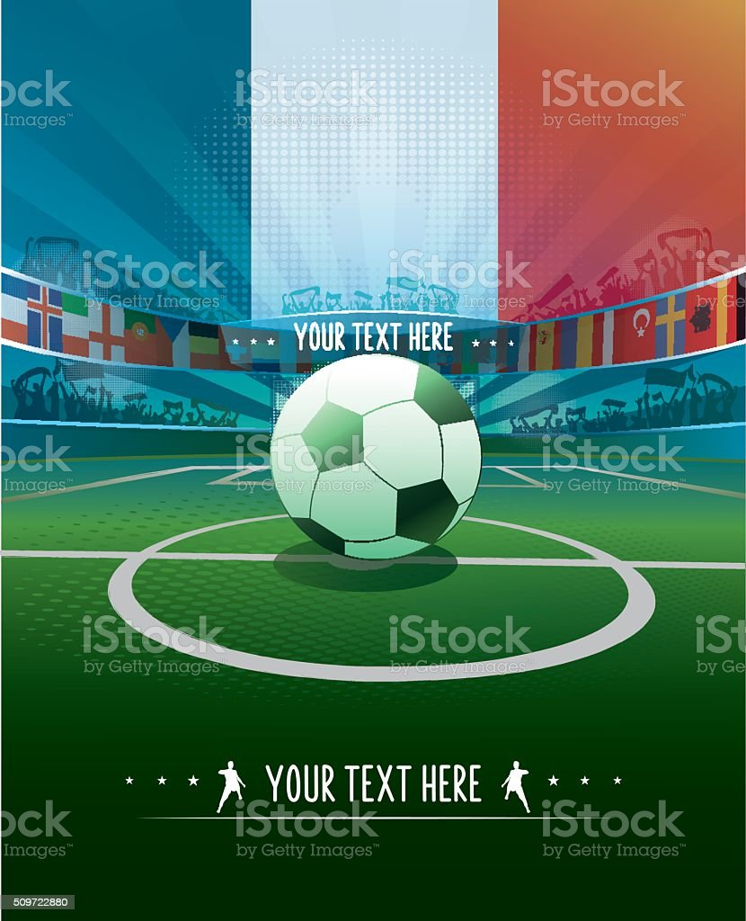 france soccer stadium with ball for kick off stock photo