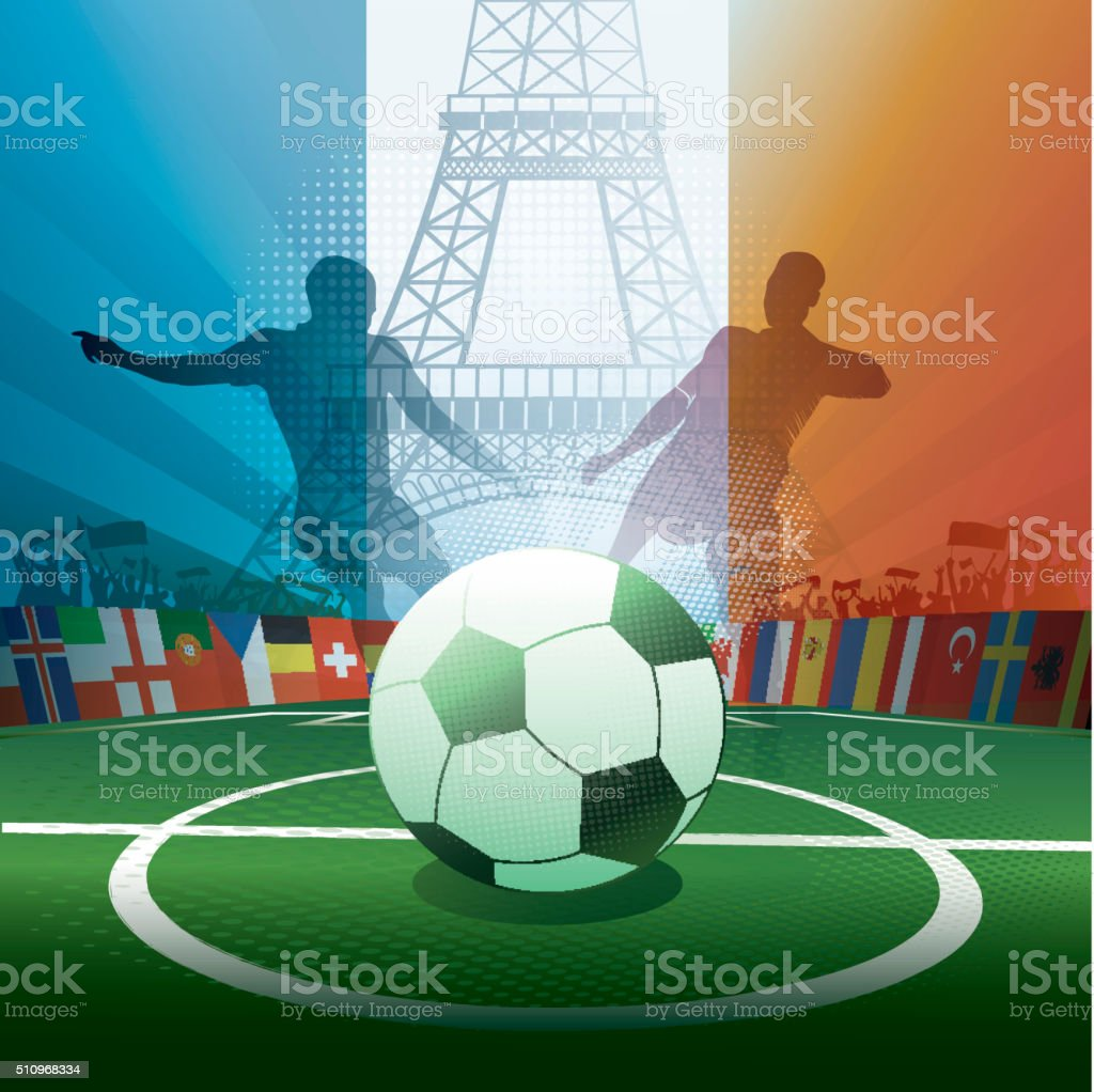 france soccer stadium with eiffel tower and player silhouettes vector art illustration