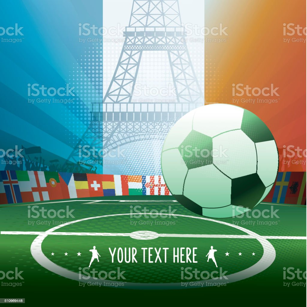 france soccer stadium with eiffel tower silhouette and french flag stock photo