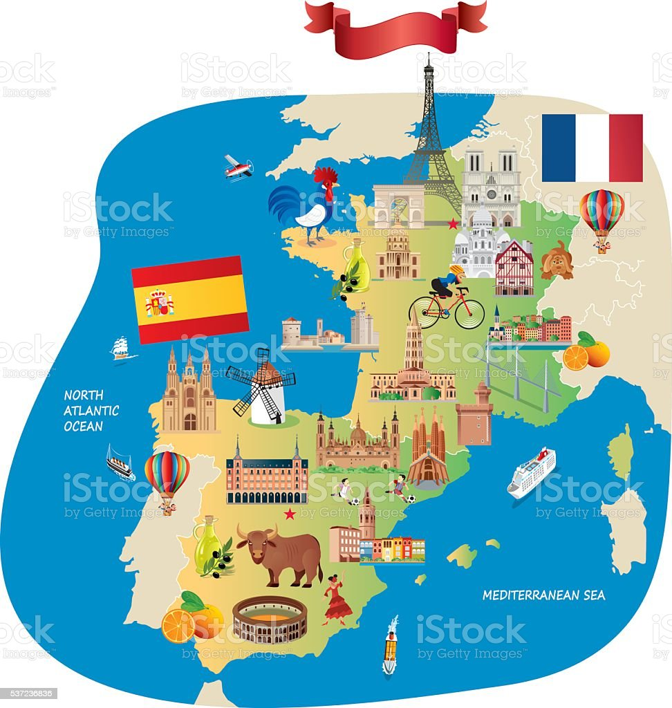 France Spain Cartoon maps vector art illustration
