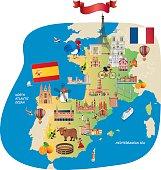 France Spain Cartoon maps