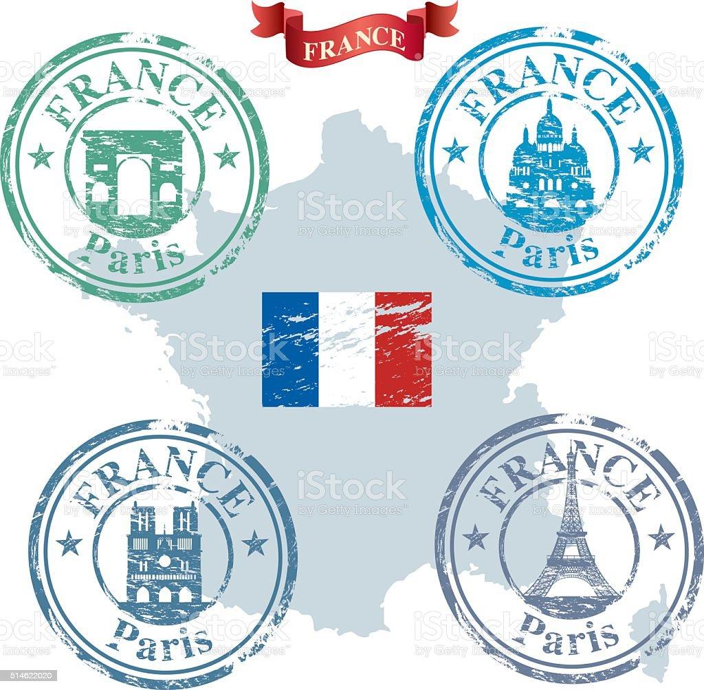 France Stamp vector art illustration