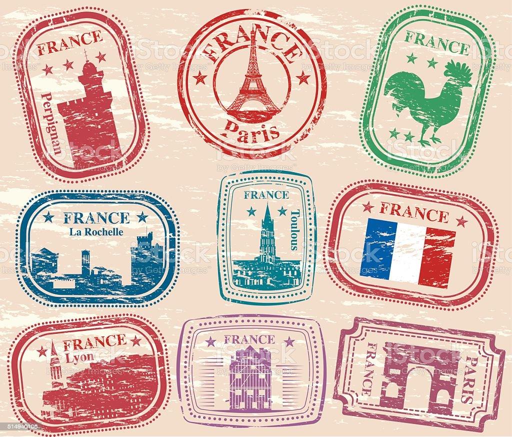 France Stamps vector art illustration