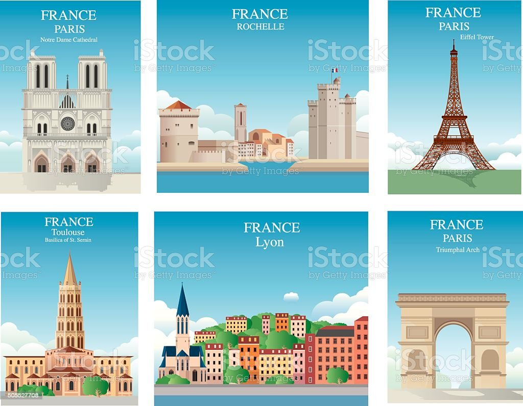 France Symbols vector art illustration