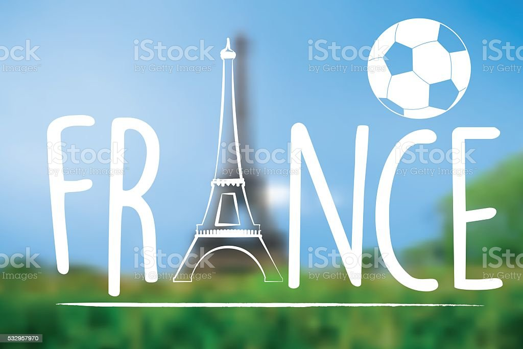 france text with eiffel tower symbol on blurred paris background vector art illustration