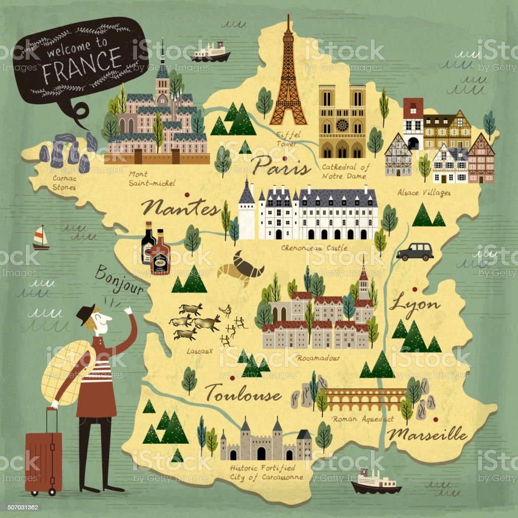 France travel concept map vector art illustration
