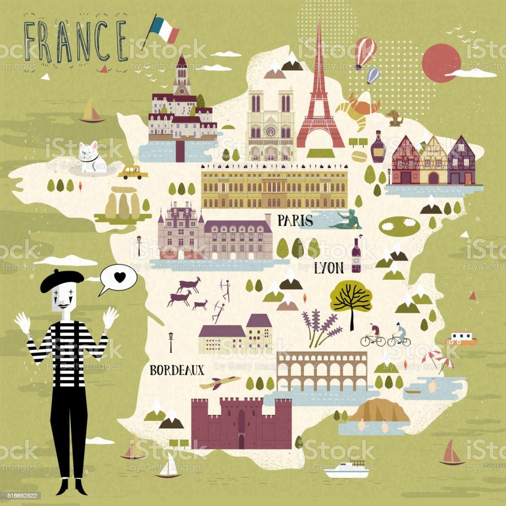 France travel map vector art illustration