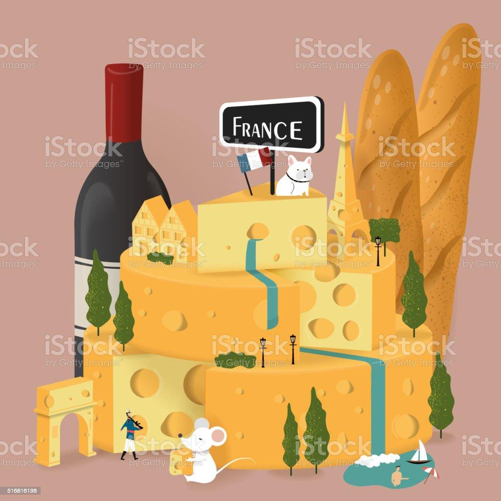 France travel poster vector art illustration