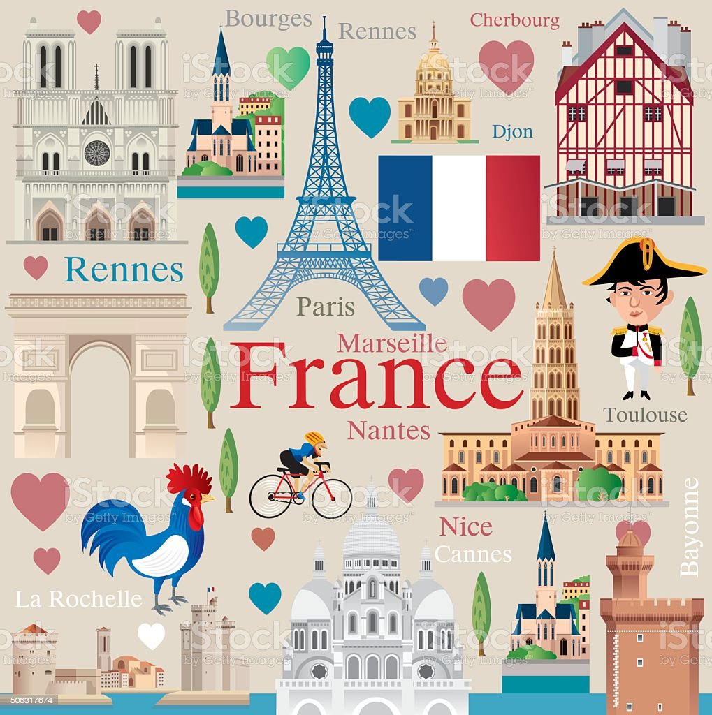 France travel vector art illustration