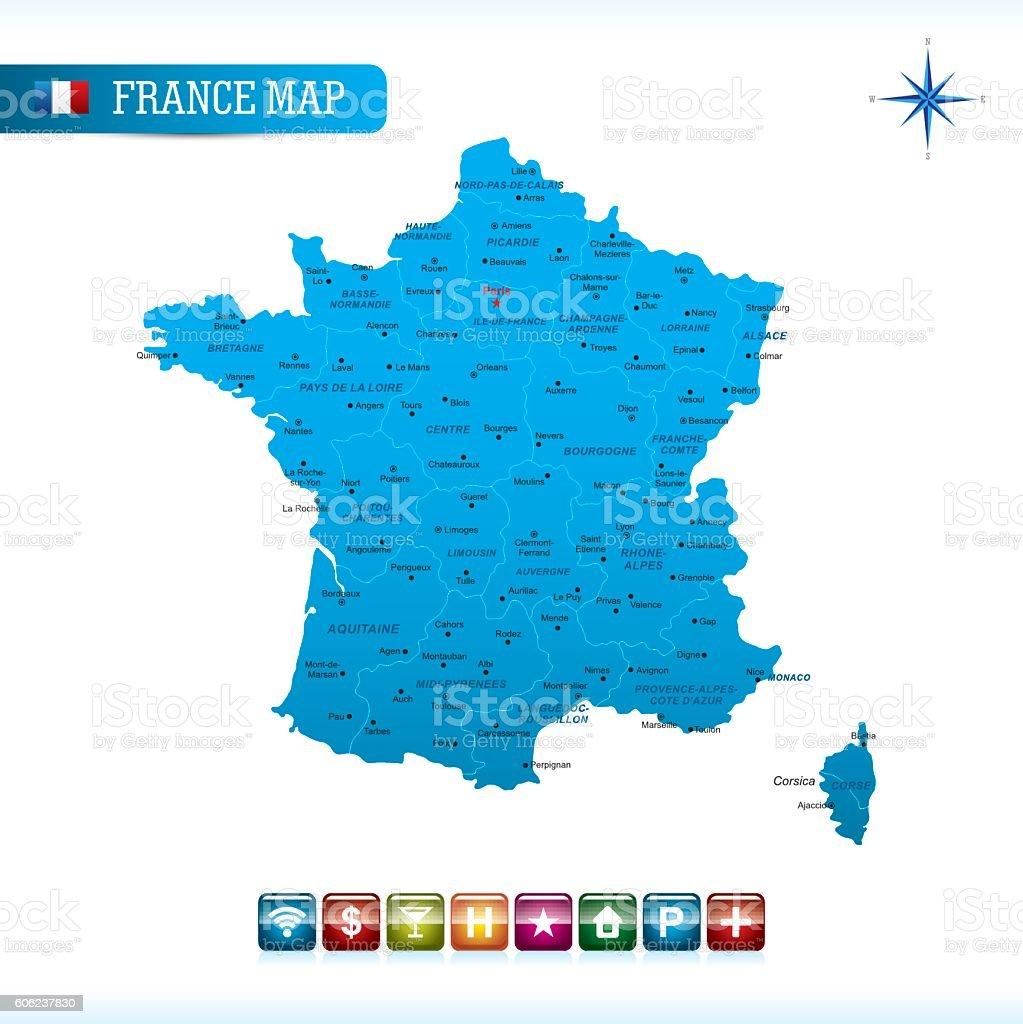 France Vector Map vector art illustration