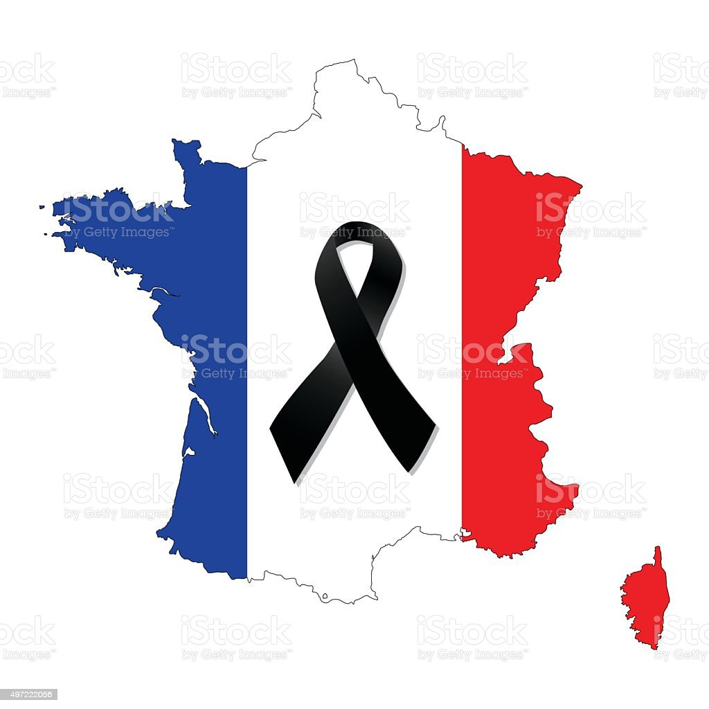 France with the French flag and the black ribbon vector vector art illustration
