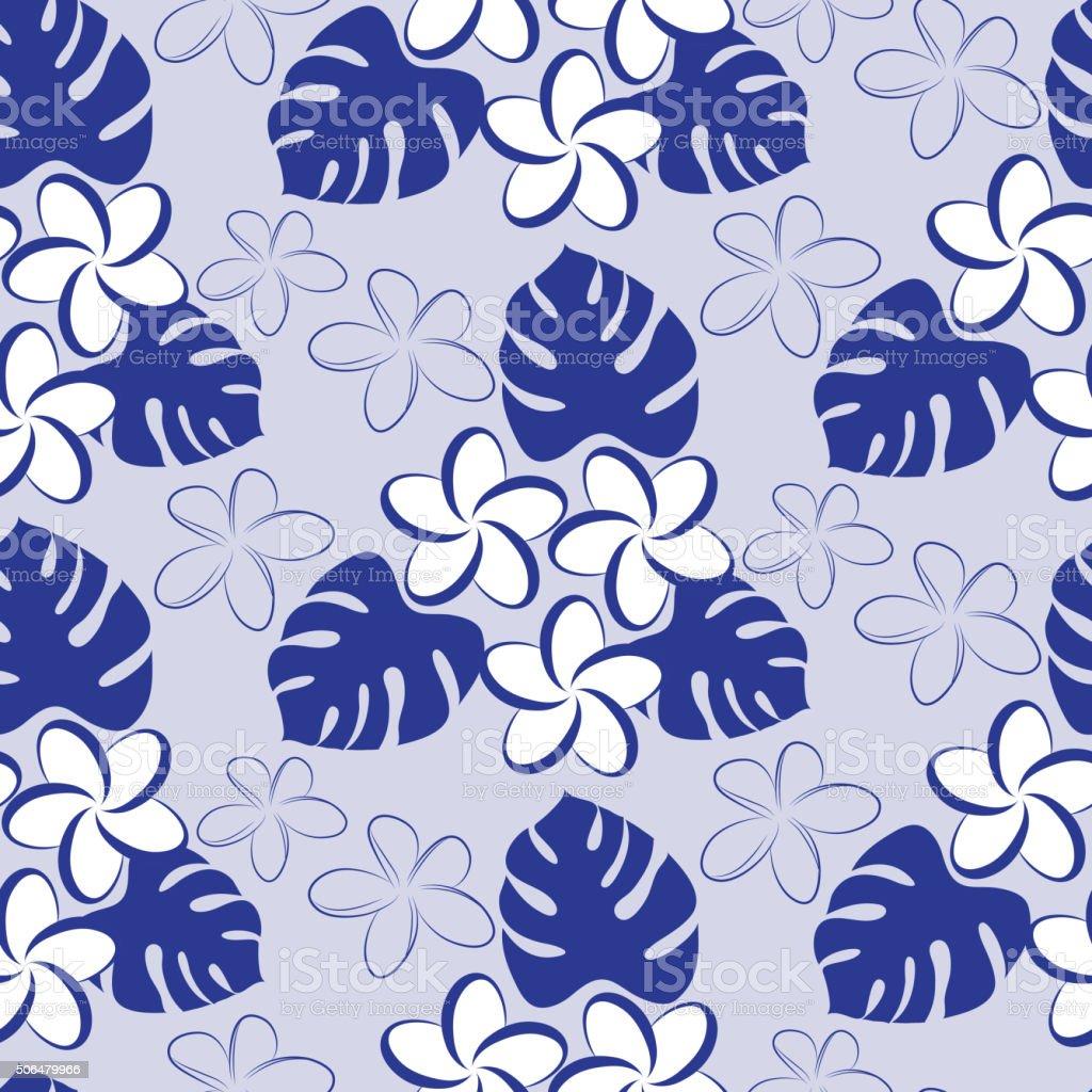 Frangipani seamless pattern vector art illustration