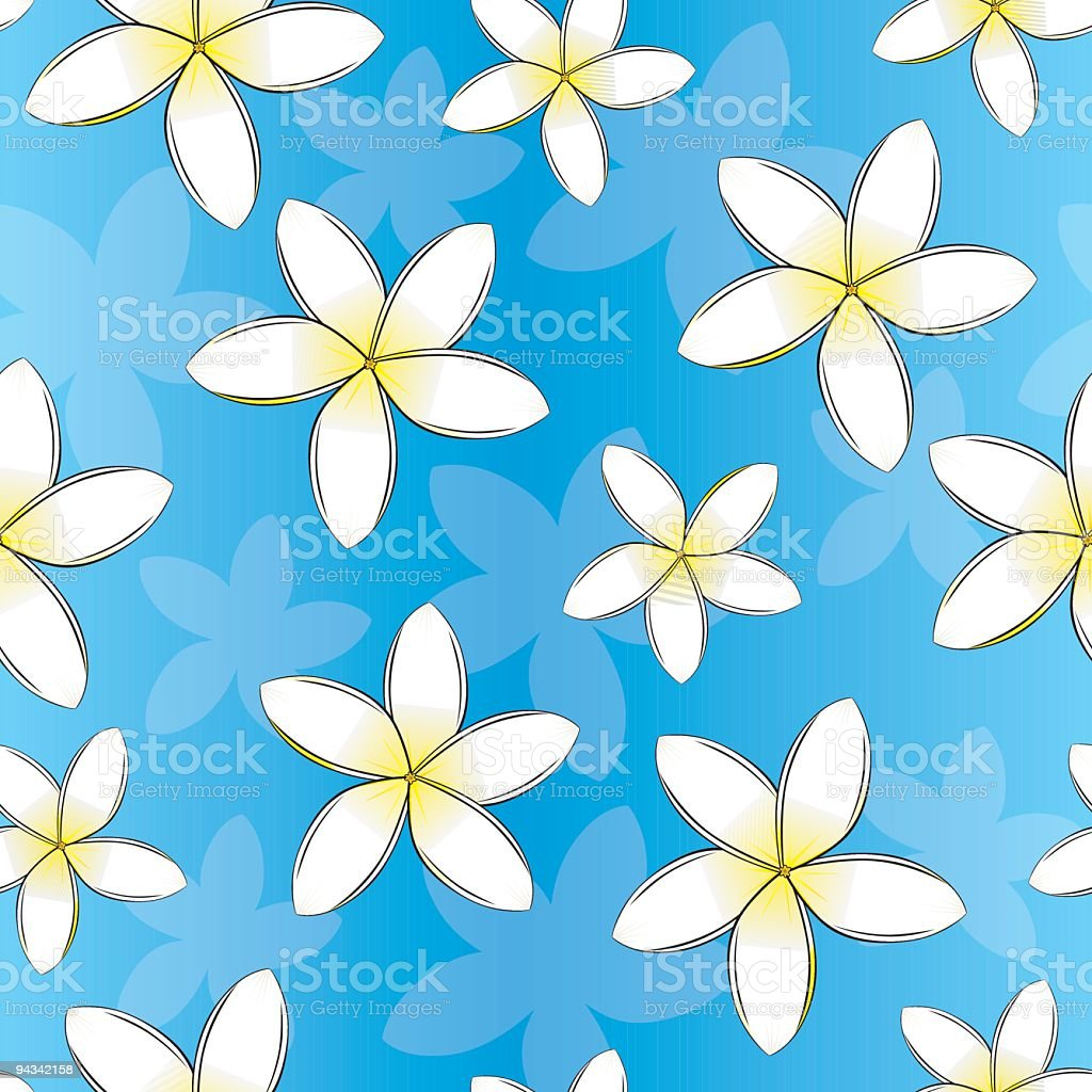 Frangipani Seamless Wallpaper royalty-free stock vector art