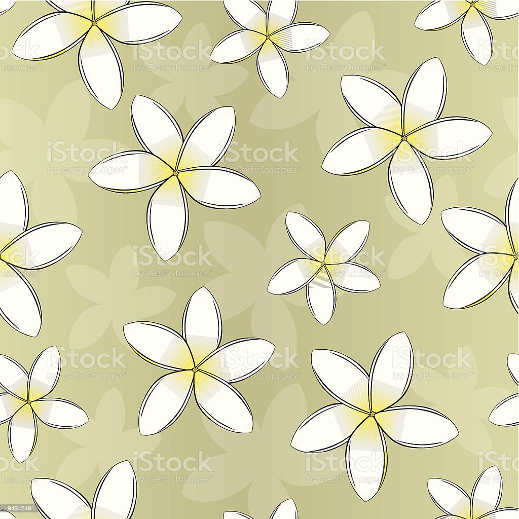 Frangipani Seamless Wallpaper royalty-free stock vector art