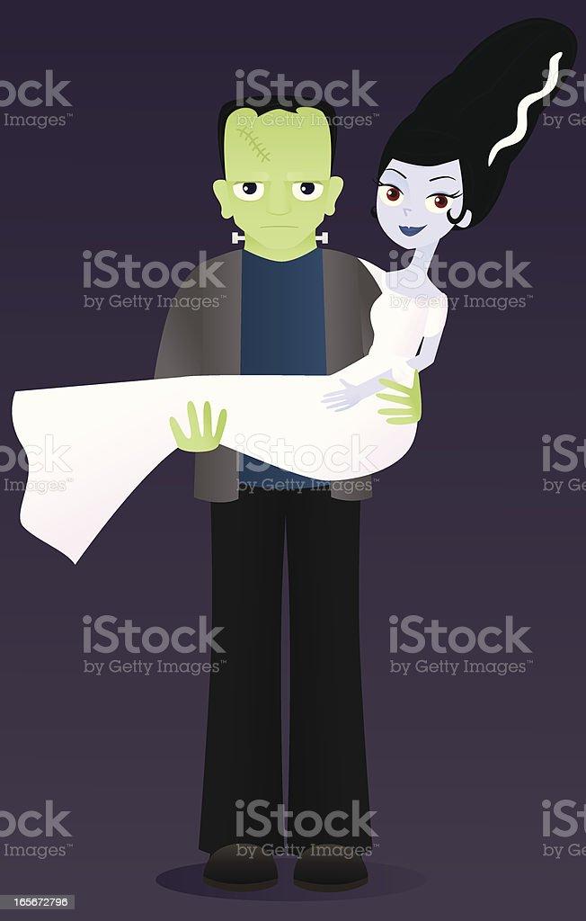 Frankenstein Couple vector art illustration